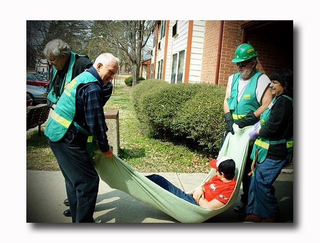 Community Emergency Response Team Practicing Moving a Person